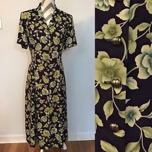 Vintage Floral Leslie Fay Button Front Maxi Dress